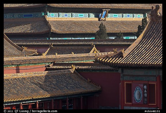 Rooftops details, Forbidden City. Beijing, China (color)