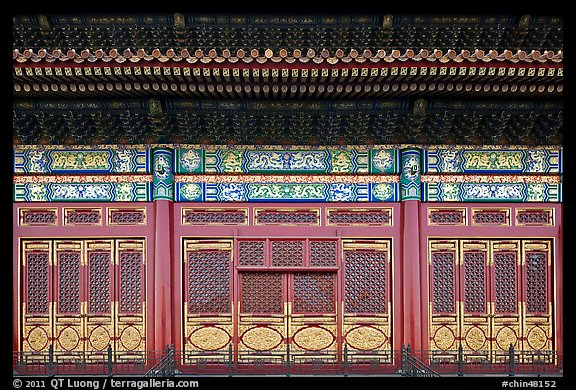 Facade detail in the back of the Hall of Preserving Harmony, Forbidden City. Beijing, China (color)