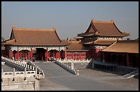 Corner Pavilion and gate, Front Court, Forbidden City. Beijing, China