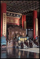 Throne inside Palace of Heavenly Purity, Forbidden City. Beijing, China (color)
