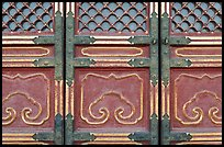 Door detail, imperial architecture, Forbidden City. Beijing, China