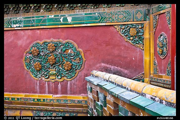 Wall detail with blazed building decoration, Forbidden City. Beijing, China (color)