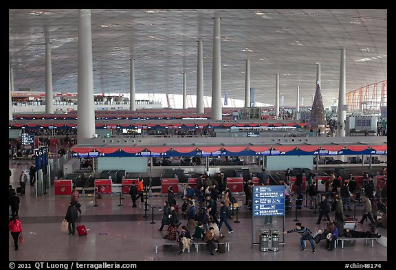 Some of the 300 check in counters, International Airport. Beijing, China