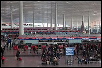Some of the 300 check in counters, International Airport. Beijing, China (color)