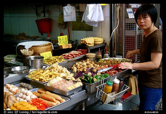 Food stall, Kowloon. Hong-Kong, China (color)