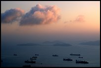 Cargo ships anchored outside of the harbor. Hong-Kong, China (color)