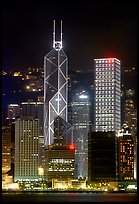 Bank of China (369m) and Cheung Kong Center (290m) buildings  across  harbor by night. Hong-Kong, China