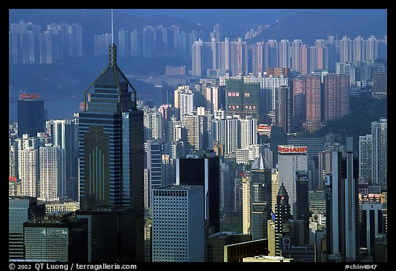 Skycrapers from Victoria Peak, late afternoon, Hong-Kong Island. Hong-Kong, China (color)