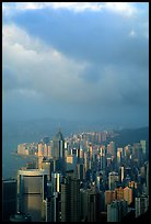 Hong-Kong citiscape from Victoria Peak, sunset. Hong-Kong, China