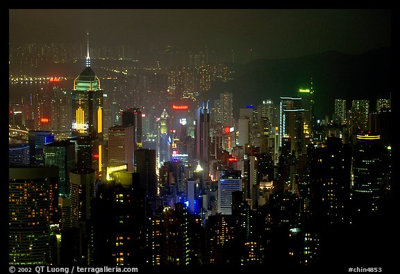Hong-Kong citiscape from Victoria Peak at night. Hong-Kong, China