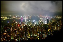 Hong-Kong night citiscape lights from Victoria Peak. Hong-Kong, China