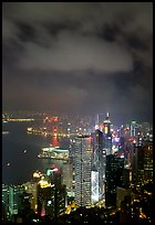 Skycraper Hong-Kong city lights from Victoria Peak at night. Hong-Kong, China