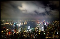 Skycrapers from Victoria Peak at night. Hong-Kong, China