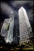 Bank of China (369m) and Cheung Kong Center (290m) buildings at night. Hong-Kong, China
