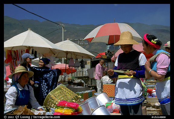 Monday village market. Shaping, Yunnan, China (color)