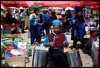 Bai woman at the Monday market. Shaping, Yunnan, China ( color)