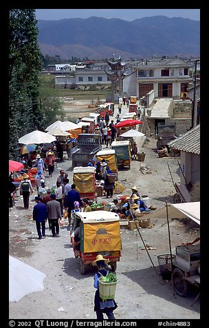 Market and village. Shaping, Yunnan, China (color)