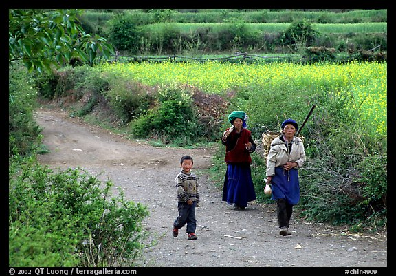 Women returning from the fields. Baisha, Yunnan, China (color)