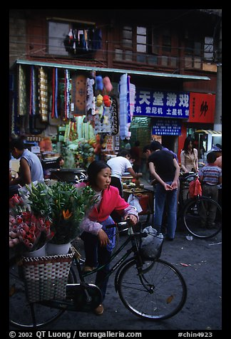 Flower peddler in an old alley. Kunming, Yunnan, China