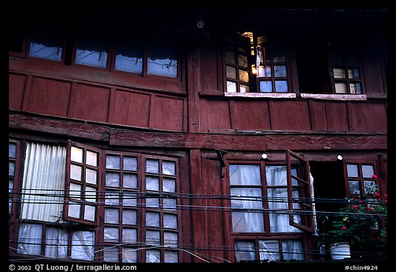Detail of old wooden house. Kunming, Yunnan, China (color)