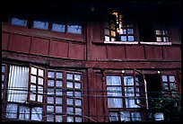 Detail of old wooden house. Kunming, Yunnan, China ( color)