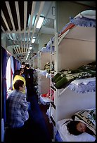 Inside a hard sleeper car train. (color)