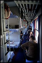 Inside a hard sleeper car train.  ( color)