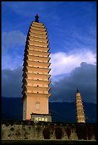 Quianxun Pagoda, the tallest of the Three Pagodas has 16 tiers reaching a height of 70m. Dali, Yunnan, China (color)