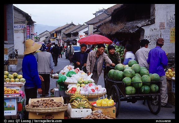 Fruits for sale on an old street. Dali, Yunnan, China (color)