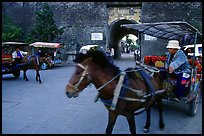 Horse carriage near the North Gate. Dali, Yunnan, China (color)