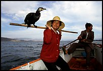Aboard a cormorant fishing boat. Dali, Yunnan, China (color)