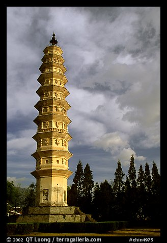 One of the two 10-tiered pagodas flanking Quianxun Pagoda. Dali, Yunnan, China
