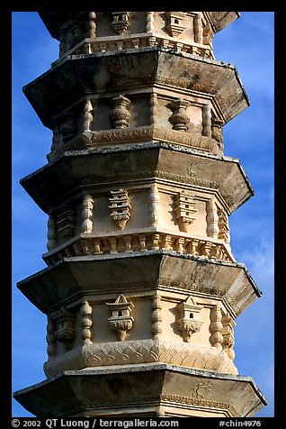 Detail of one of the two 10-tiered pagodas flanking Quianxun Pagoda. Dali, Yunnan, China (color)