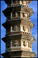 Detail of one of the two 10-tiered pagodas flanking Quianxun Pagoda. Dali, Yunnan, China