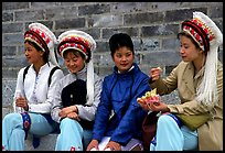 Women wearing traditional Bai dress. Dali, Yunnan, China (color)