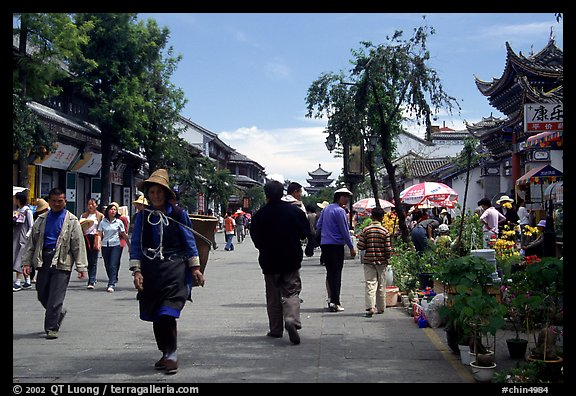 On one of the recently enlarged pedestrian streets. Dali, Yunnan, China (color)