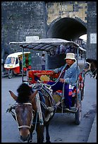 Horse carriage next to the North gate. Dali, Yunnan, China (color)