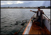 Cormorant Fisherman gives orders to his  fishing birds. Dali, Yunnan, China (color)