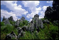 Among the limestone peaks of the Stone Forest. Shilin, Yunnan, China (color)