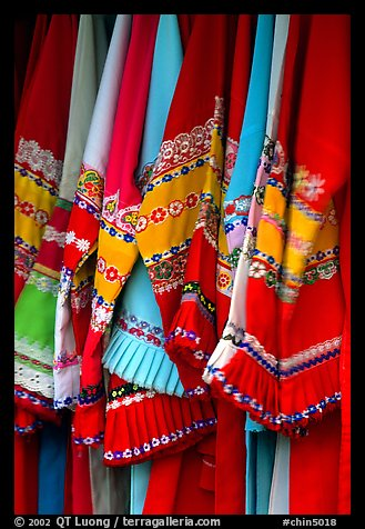 Sani dresses for sale. Shilin, Yunnan, China (color)
