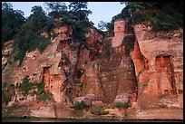 Da Fo (Grand Buddha) and two guardians seen from the river. Leshan, Sichuan, China ( color)