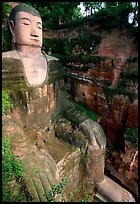 Da Fo (Grand Buddha) seen from Fuyu in Dafo Si. Leshan, Sichuan, China (color)