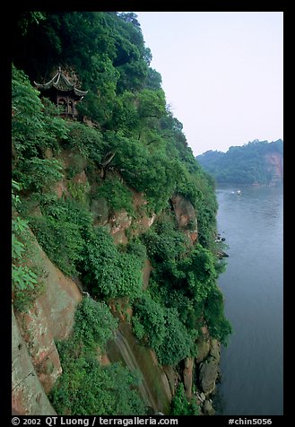 Bijin Pavillion in the cliffs of Lingyun Hill above the confluence of Min and and Dadu Rivers. Leshan, Sichuan, China (color)