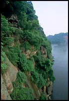 Bijin Pavillion in the cliffs of Lingyun Hill above the confluence of Min and and Dadu Rivers. Leshan, Sichuan, China