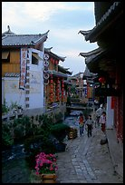 Early morning along a canal. Lijiang, Yunnan, China (color)