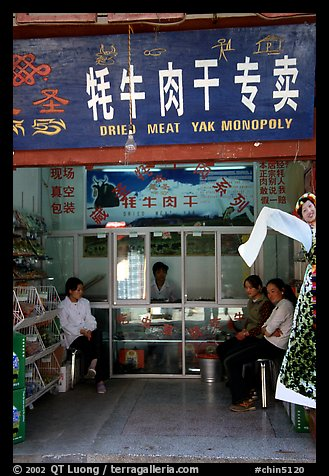 Store selling Yak meat. Lijiang, Yunnan, China (color)