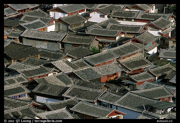 Old town Rooftops seen from Wangu tower. Lijiang, Yunnan, China