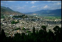 Old town, new town, and surrounding fields seen from Wangu tower. Lijiang, Yunnan, China ( color)