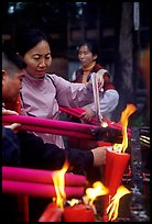 Burning incense batons at Wannian Si. Emei Shan, Sichuan, China (color)