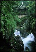 Waterfall beneath Qingyin pavillon. Emei Shan, Sichuan, China (color)